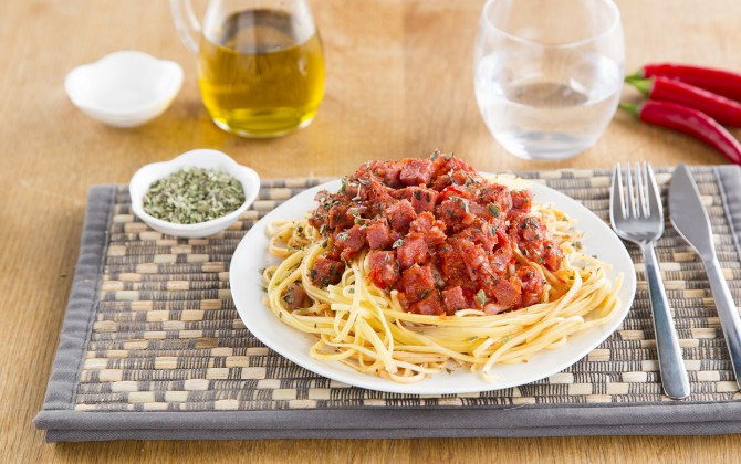 Recept Linguine all'Uovo met Sugocasa en salami Grand'Italia