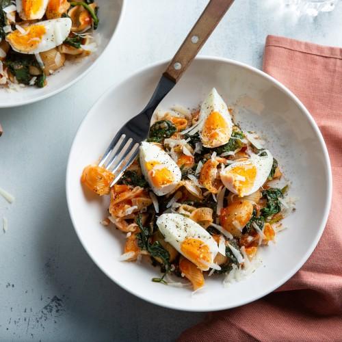 Recept Pipe Rigate ai 4 Formaggi, spinaci e uovo Grand'Italia